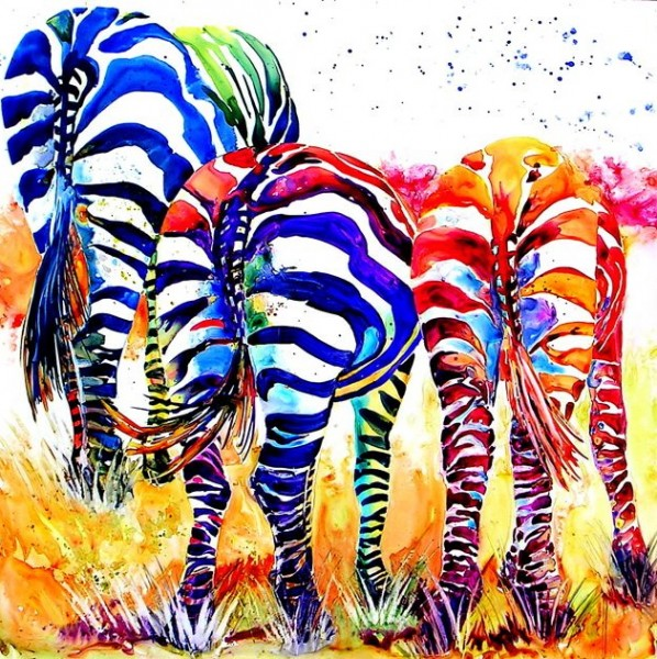 "3zs. Watercolor. ""It might seem crazy but when I saw the B&W zebras all I could imagine painting was all this color!"""